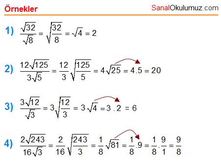 kareköklü sayılarda bölme işlemi
