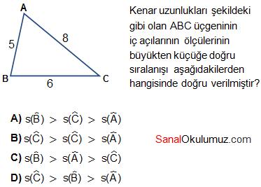 üçgenlerde açı ilişkileri soru 1