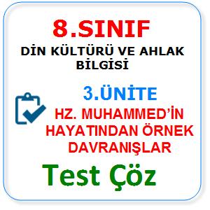 8.sınıf din kültürü 3.ünite testleri
