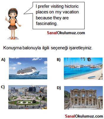 8.sınıf ingilizce Tourism soru 1